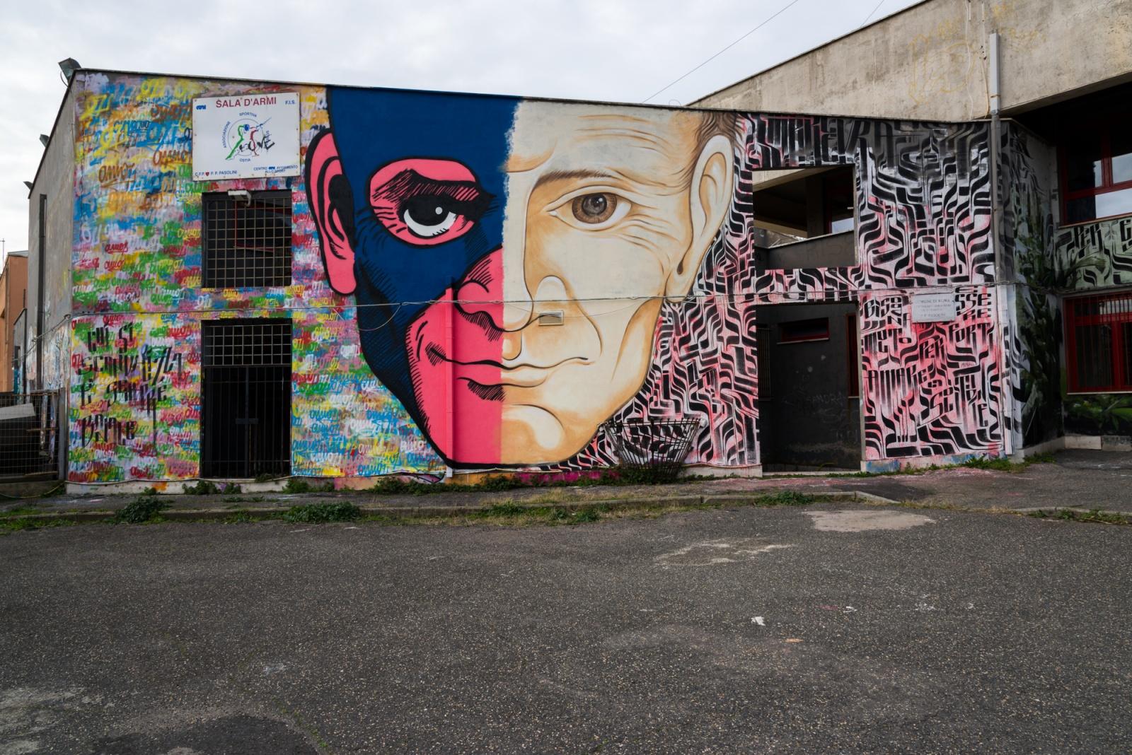 """Questo murale è stato realizzato sulla struttura del Centro di Formazione Professionale """"Pier Paolo Pasolini"""". Gli autori sono Omino71 e Mr.Klevra."""