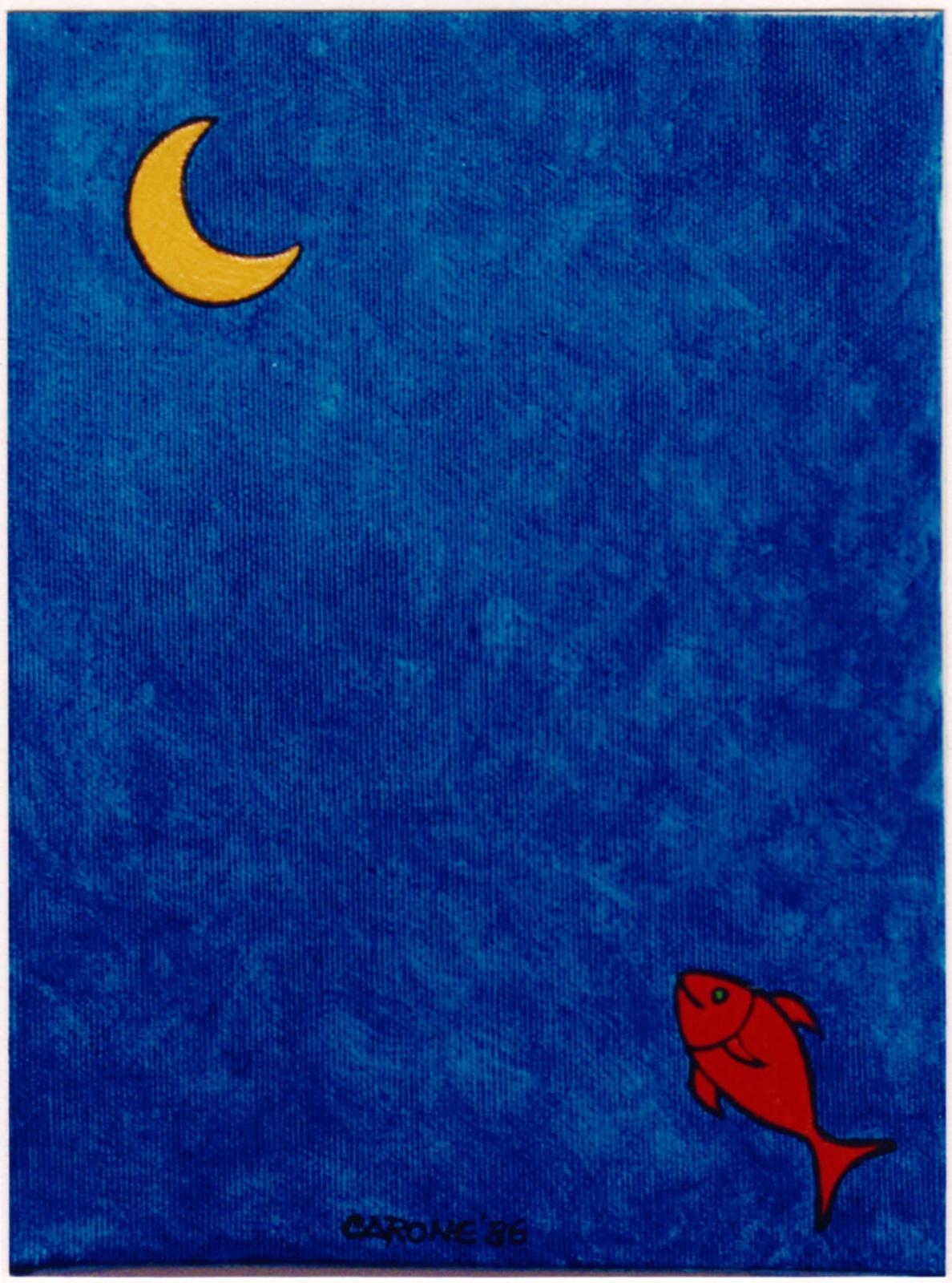 VOGLIOLALUNA (pesce lunatico) . 1986 - colori acrilici su tela. cm.24 x 18 Collezione Franco Toselli, Milano