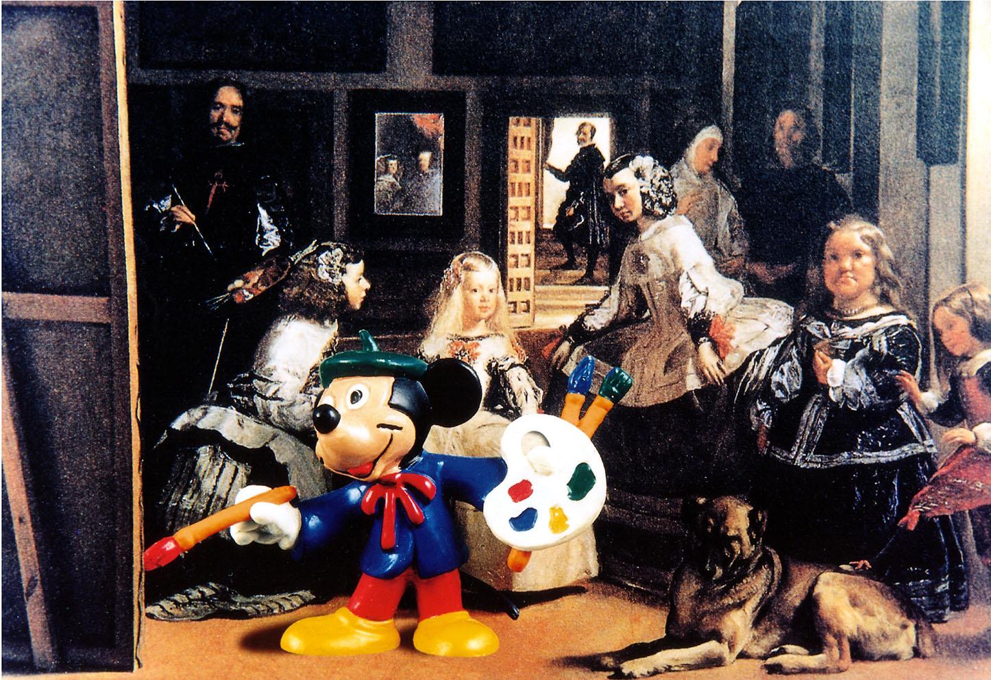 VELAZQUEZ & MICHEY MOUSE . 1997 - Fotografia su tela, cm.100 x 120 Opera disponibile alla vendita.