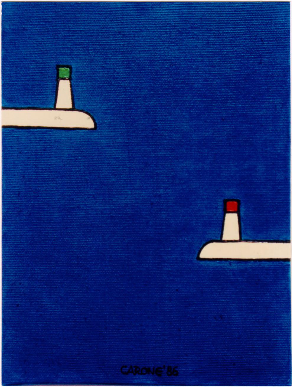 IL PORTO DI BARI . 1986 - Colori acrilici su tela, cm.30 x 20 Collezione Mara Labriola, Bari